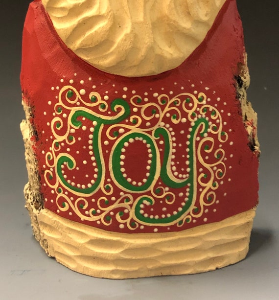 "HAND carved original 8.5 tall ""Joy"" Santa from 100 year old Cottonwood Bark."