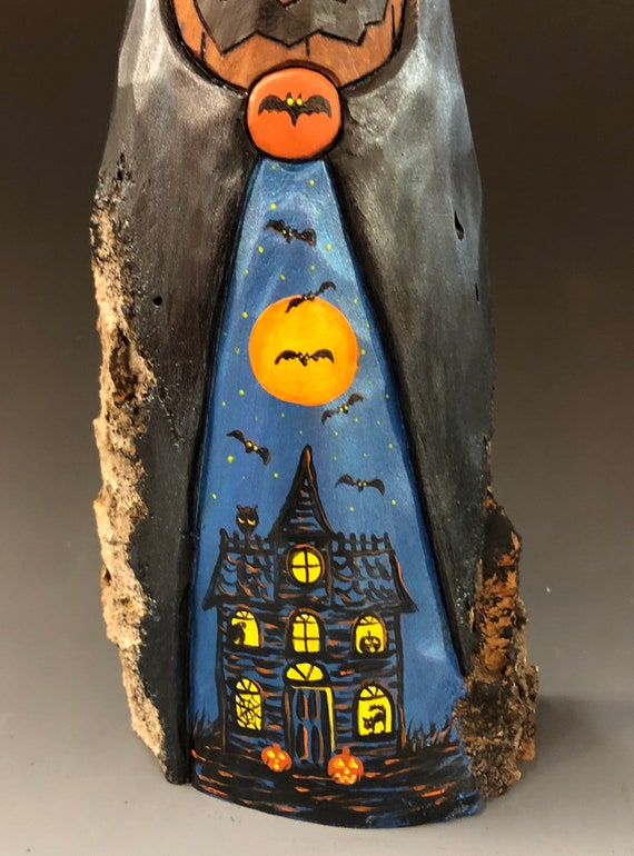 """HAND CARVED original 9"""" tall Halloween Jack-O-Lantern man w/ painted scene from 100 year old Cottonwood Bark"""