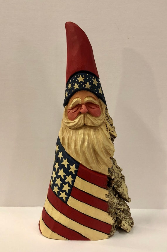 "HAND CARVED original 10"" Patriotic Santa from 100 year old Cottonwood Bark."