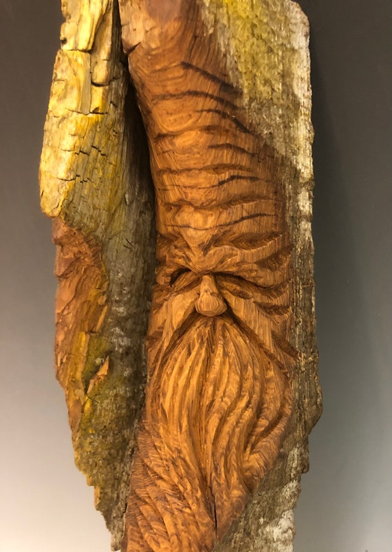 "HAND CARVED original 14.5"" long Tree Spirit  from 100 year old Cottonwood Bark"