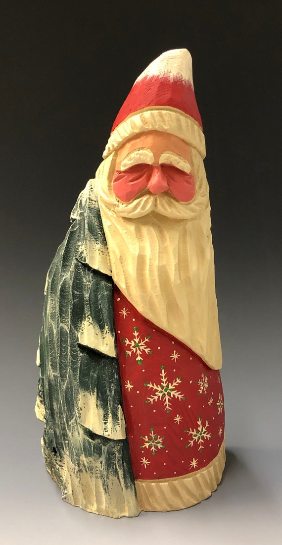 "HAND carved 9.5"" tall Santa w/ tree from 100 year old Cottonwood Bark."