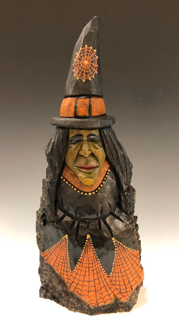 """HAND CARVED original 12"""" tall Halloween Witch from 100 year old Cottonwood Bark"""