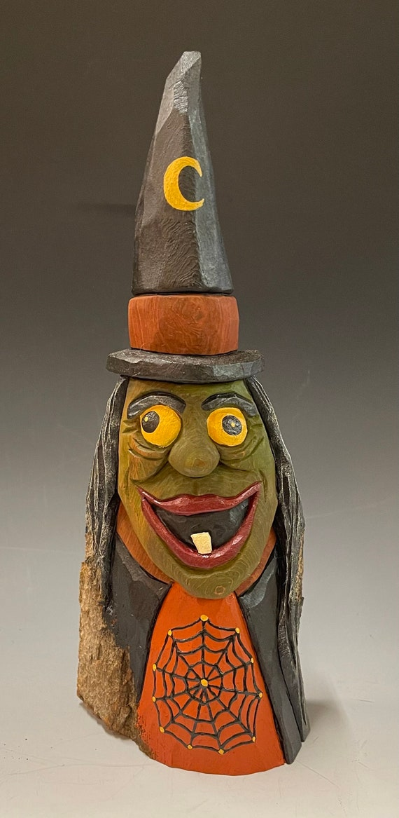 """HAND CARVED original 11.5"""" tall Halloween Witch from 100 year old Cottonwood Bark"""