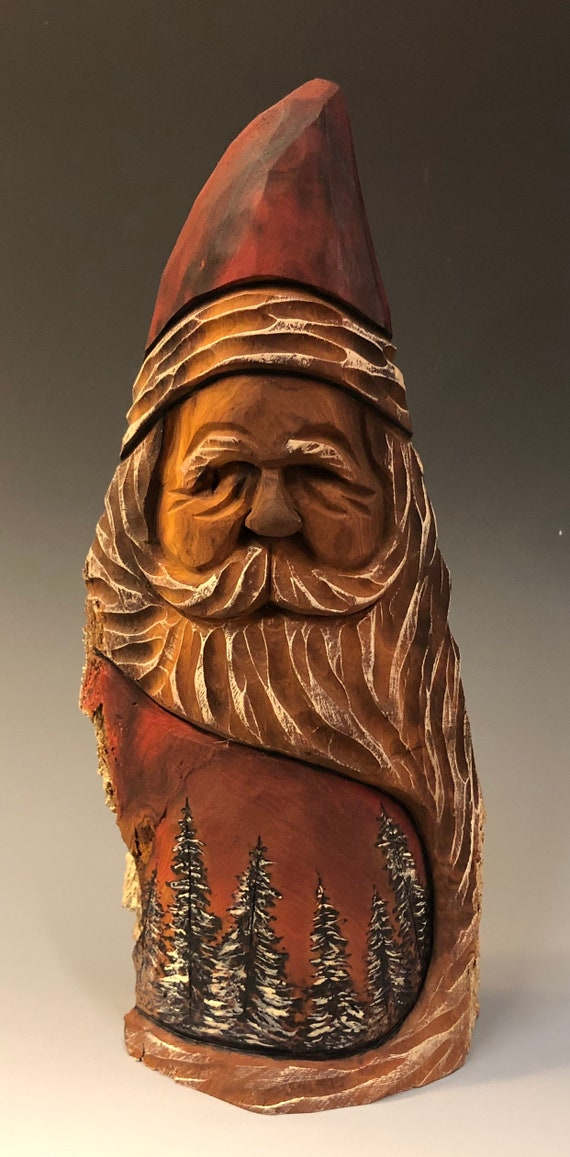"""HAND carved original 8.5"""" tall Santa and wood burned scene from 100 year old Cottonwood Bark."""