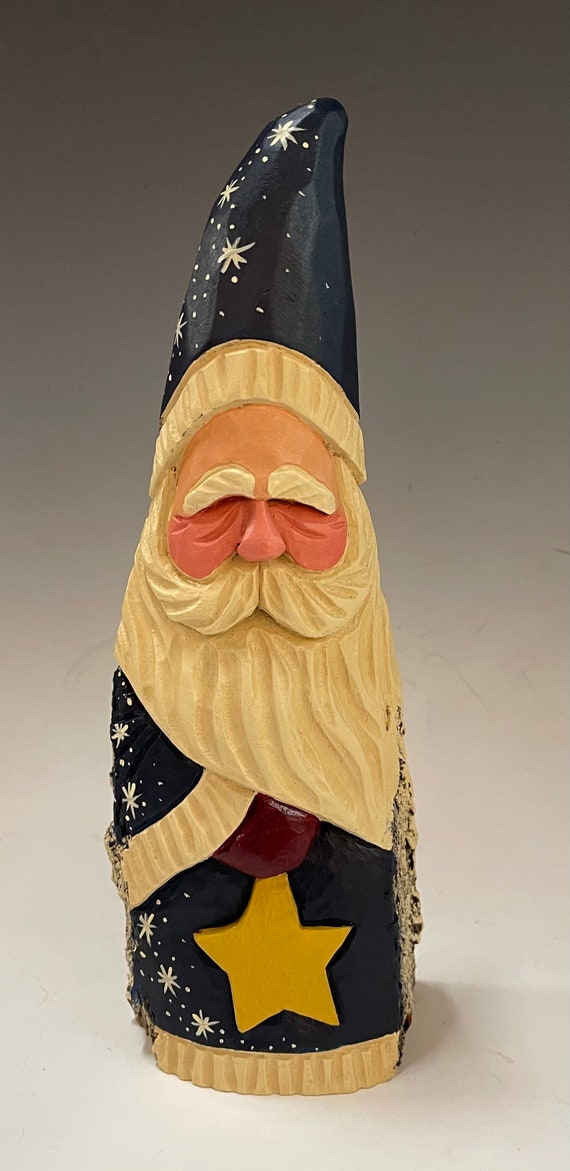 """HAND carved original 9.5"""" tall Santa w/star from 100 year old Cottonwood Bark."""