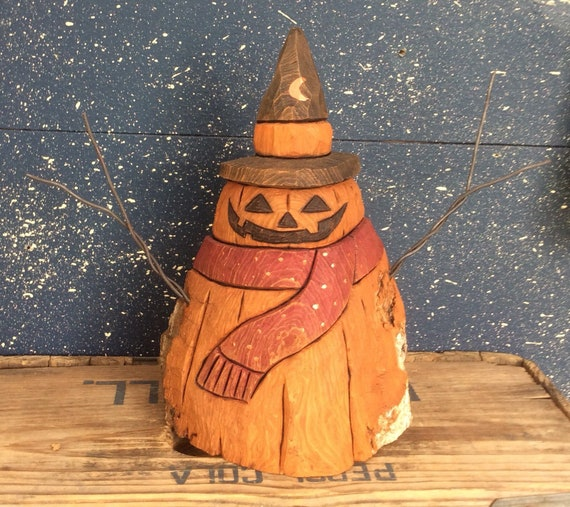 HAND CARVED original new Halloween jol snowman from 100 year old Cottonwood Bark