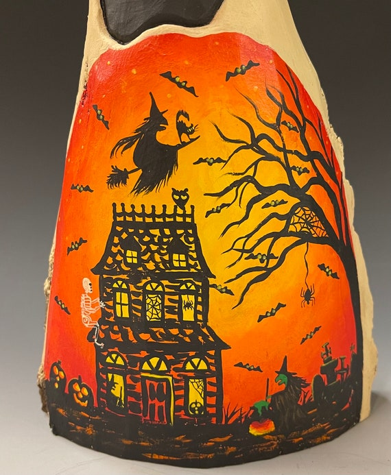 """HAND CARVED original 11"""" Halloween ghost with painted scene from 100 year old Cottonwood Bark"""