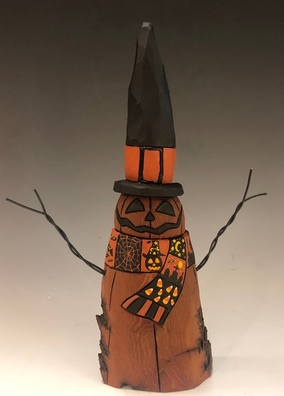 "HAND CARVED original 10"" tall Halloween Jack-O-Lantern ""snowman"" from 100 year old Cottonwood Bark"