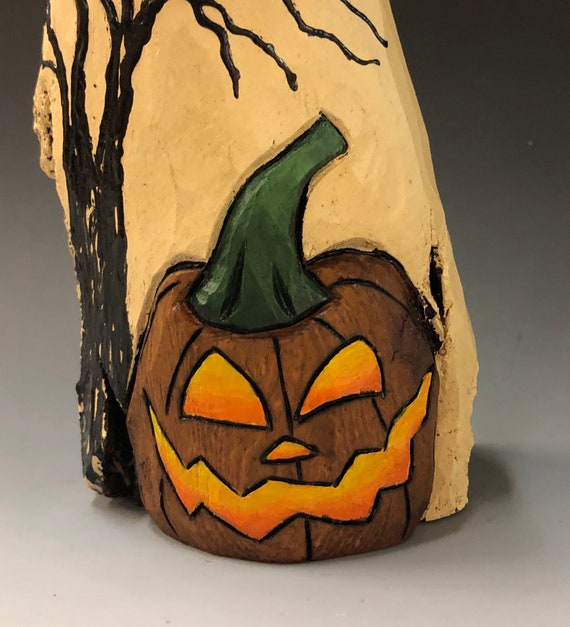 "HAND CARVED original 11"" tall Halloween ghost with JOL & tree from 100 year old Cottonwood Bark"