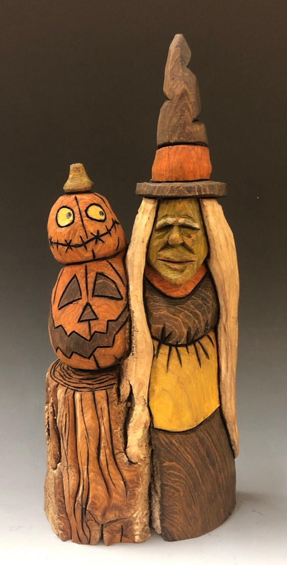 "HAND CARVED original 10"" tall Halloween Witch & Jol's from 100 year old Cottonwood Bark"