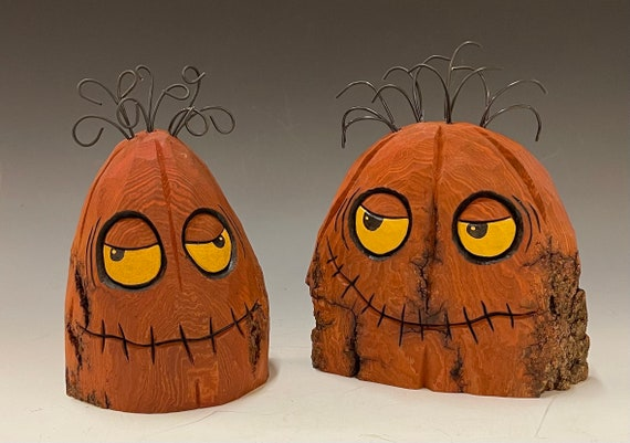 HAND carved original Halloween JOL set from 100 year old Cottonwood Bark.