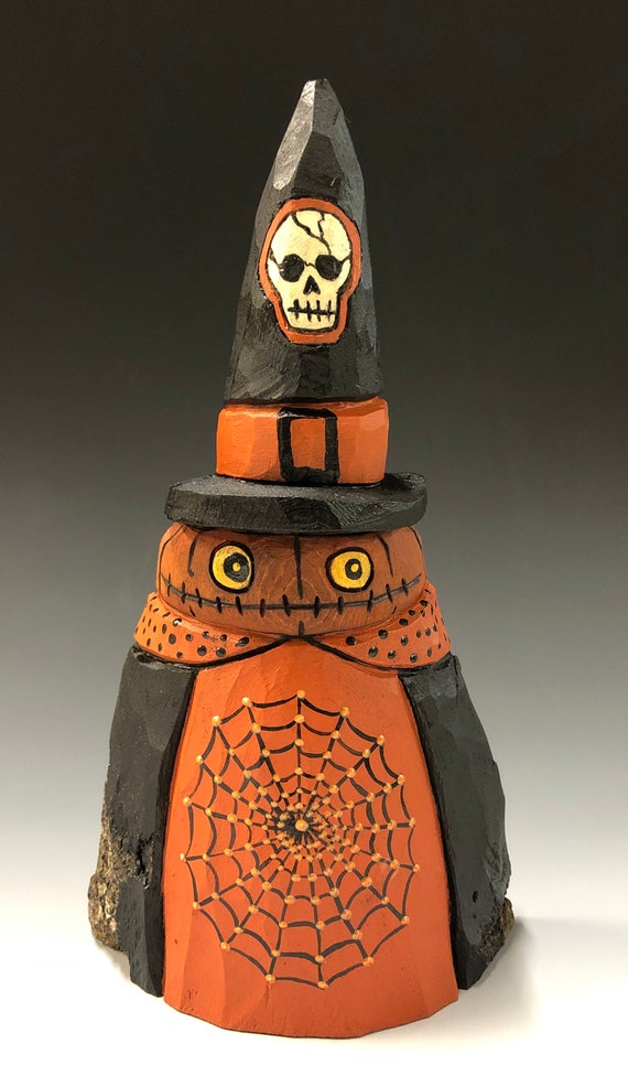 "HAND CARVED original 7"" tall Halloween Jack-O-Lantern man w/ web from 100 year old Cottonwood Bark"