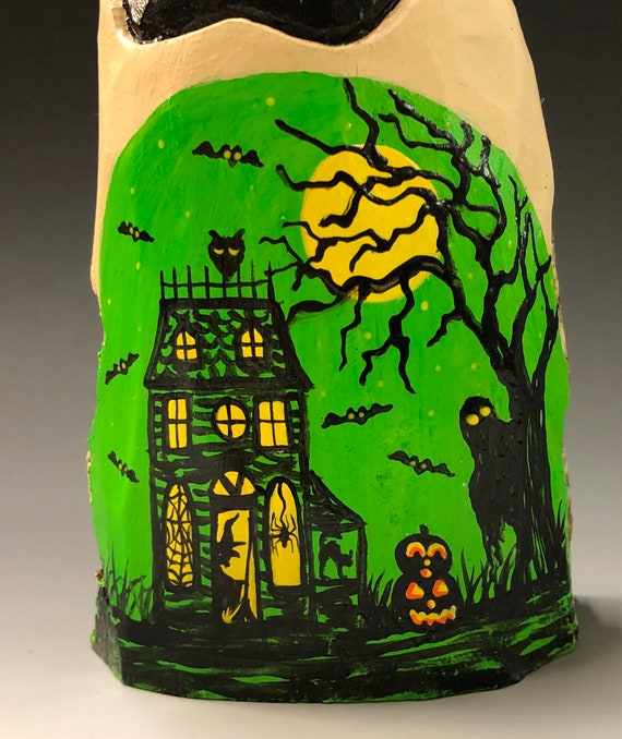 "HAND CARVED original 7"" Halloween ghost with painted scene from 100 year old Cottonwood Bark"