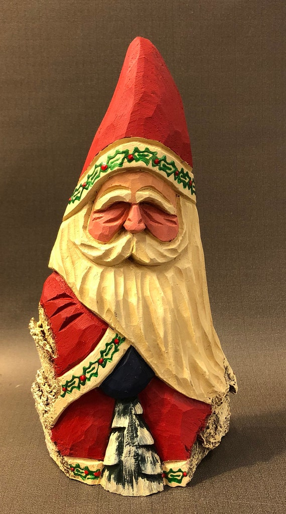 """HAND carved original 8"""" tall Holly Santa with tree from 100 year old Cottonwood Bark."""