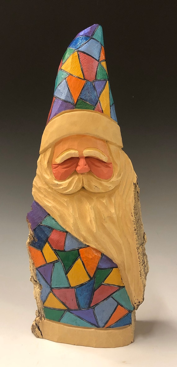"HAND carved original 11"" tall ""stained glass"" Santa from 100 year old Cottonwood Bark."