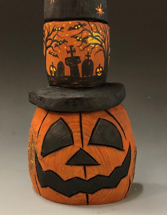 "HAND CARVED original 10"" tall Halloween Jack-O-Lantern in a Witch hat from 100 year old Cottonwood Bark"