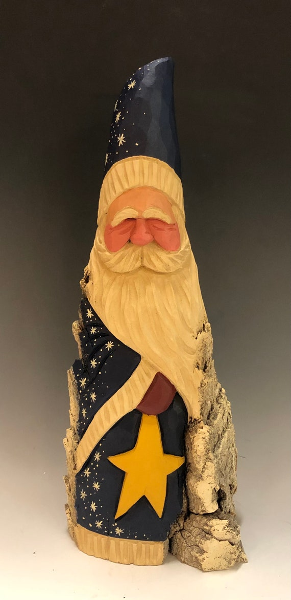 "HAND carved original 14.5"" tall Santa w/ star from 100 year old Cottonwood Bark."