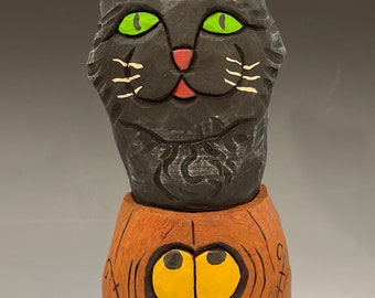 """HAND CARVED original 7"""" tall green eyed Halloween kitty in a Jack-o-lantern from 100 year old Cottonwood Bark"""