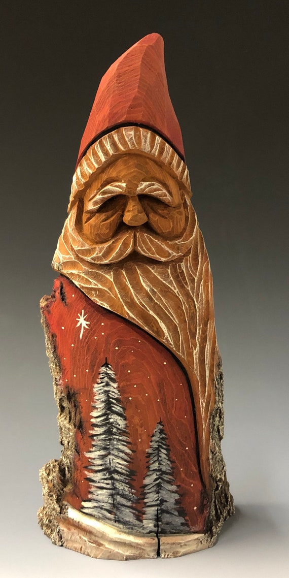 "HAND carved original 9"" tall Santa w/ burned trees & oil stain finish from 100 year old Cottonwood Bark."