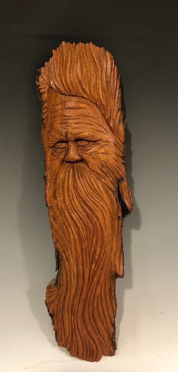 "HAND CARVED original 14"" long Tree Spirit  from 100 year old Cottonwood Bark"