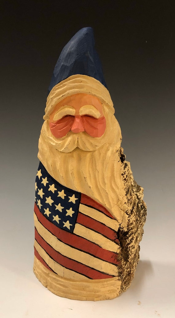 "HAND carved original 8.5"" tall Patriotic Santa from 100 year old Cottonwood Bark."