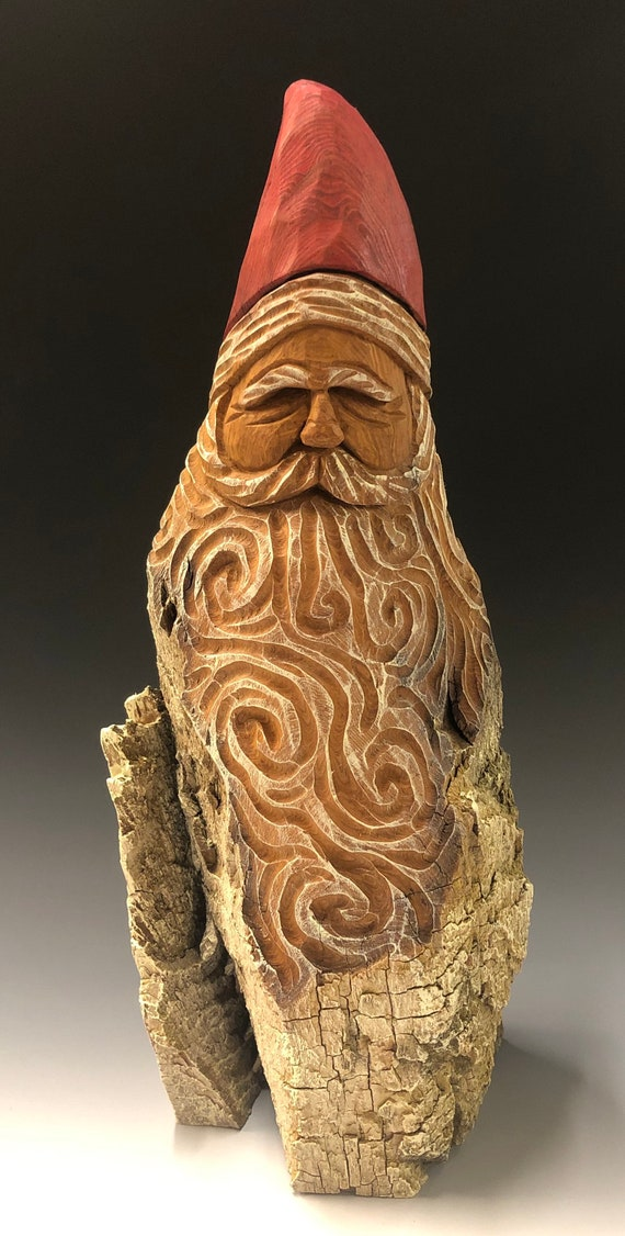 "HAND carved original 14"" tall Santa bust with oil stain finish from 100 year old Cottonwood Bark."