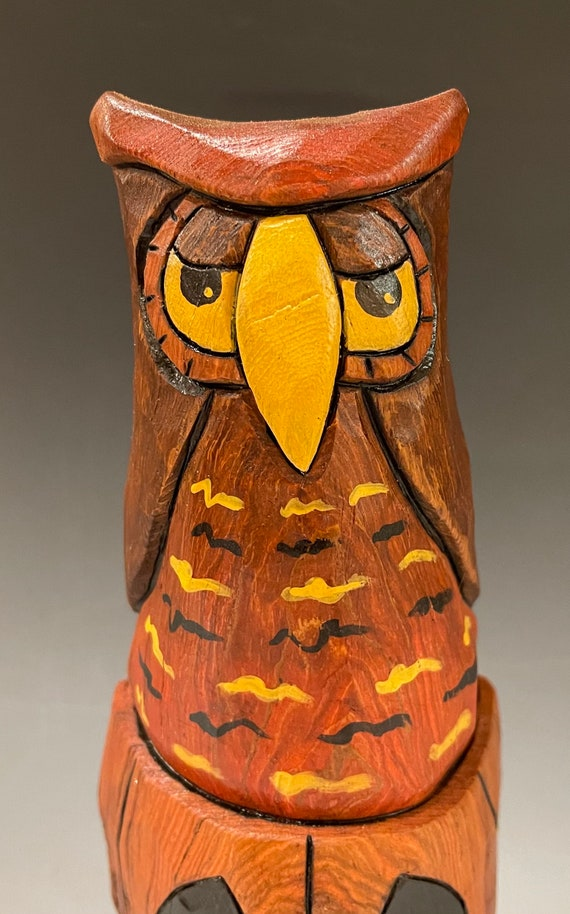 """HAND CARVED original 8"""" tall Owl on a pumpkin from 100 year old Cottonwood Bark"""