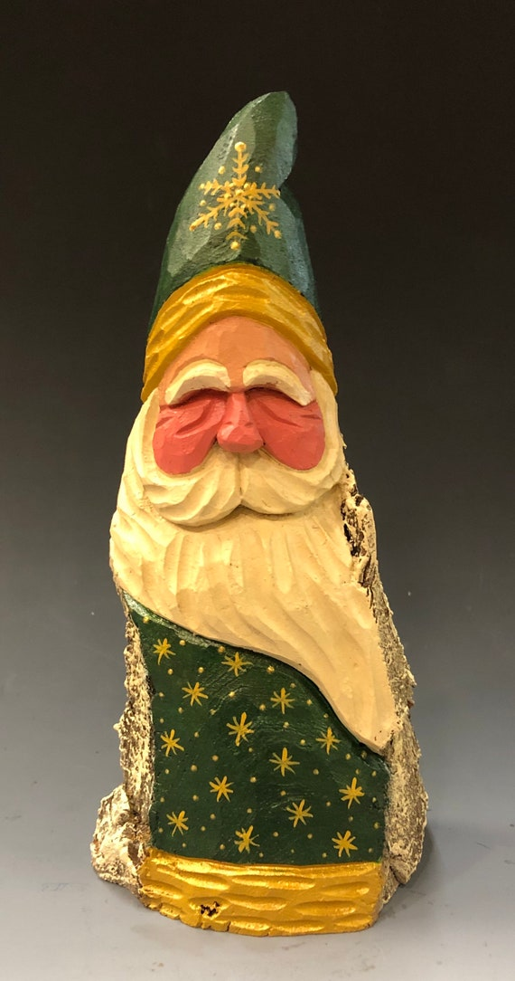 """HAND carved original 8"""" tall green and gold Santa from 100 year old Cottonwood Bark."""