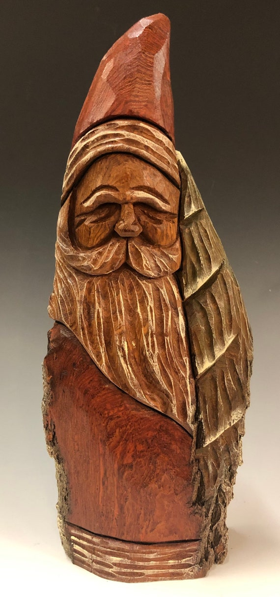 "HAND carved original 11.5"" tall Santa & tree with oil stains from 100 year old Cottonwood Bark."