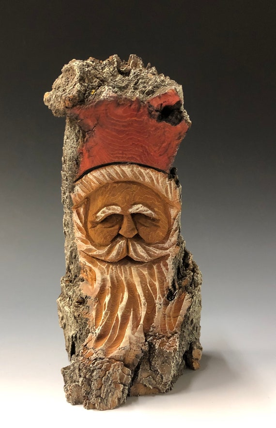 "HAND carved original 8"" tall Santa bust with natural stain finish from 100 year old Cottonwood Bark."