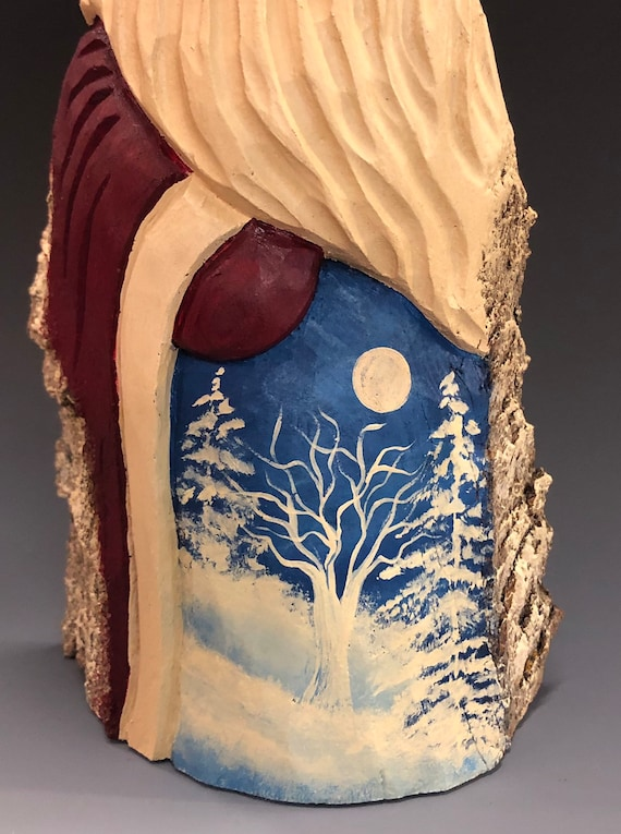 "HAND carved original 10"" tall Santa with Winter scene from 100 year old Cottonwood Bark."
