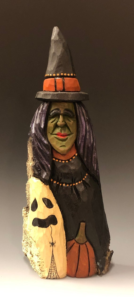 HAND CARVED original new Halloween Witch and ghost from 100 year old Cottonwood Bark