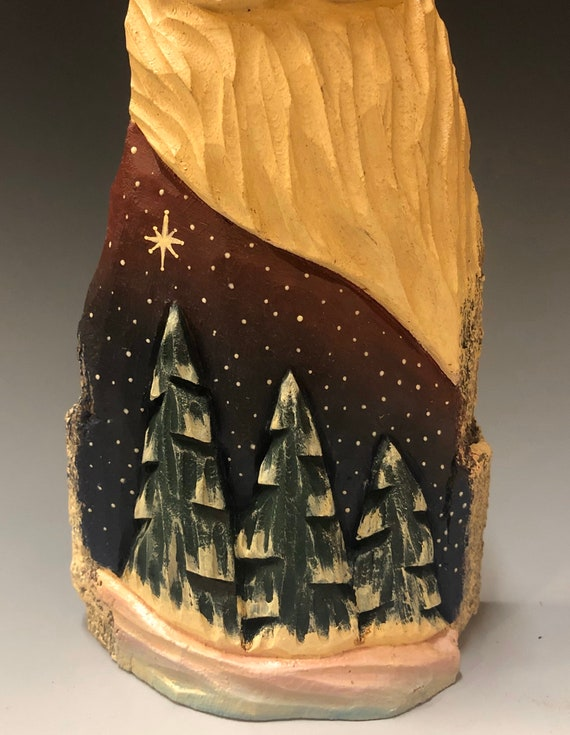 "HAND carved original 9.75"" tall Santa w/ trees from 100 year old Cottonwood Bark."