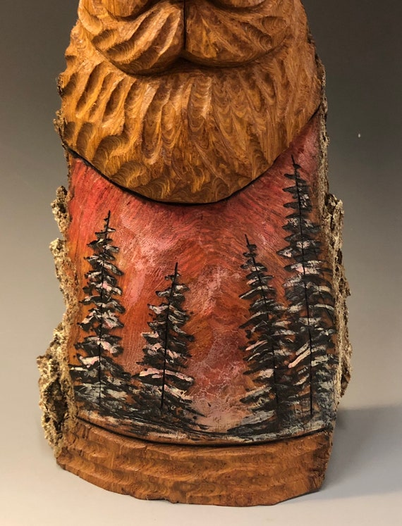 """HAND carved original 10.5"""" tall Santa and wood burned trees from 100 year old Cottonwood Bark."""