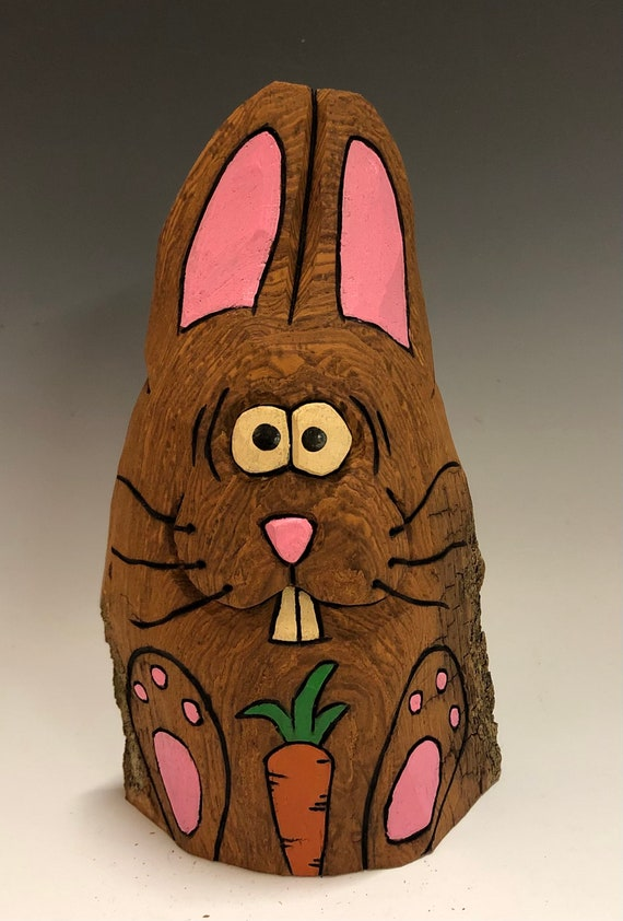 "HAND CARVED original 6.5"" tall Easter Bunny with carrot from 100 year old Cottonwood Bark."