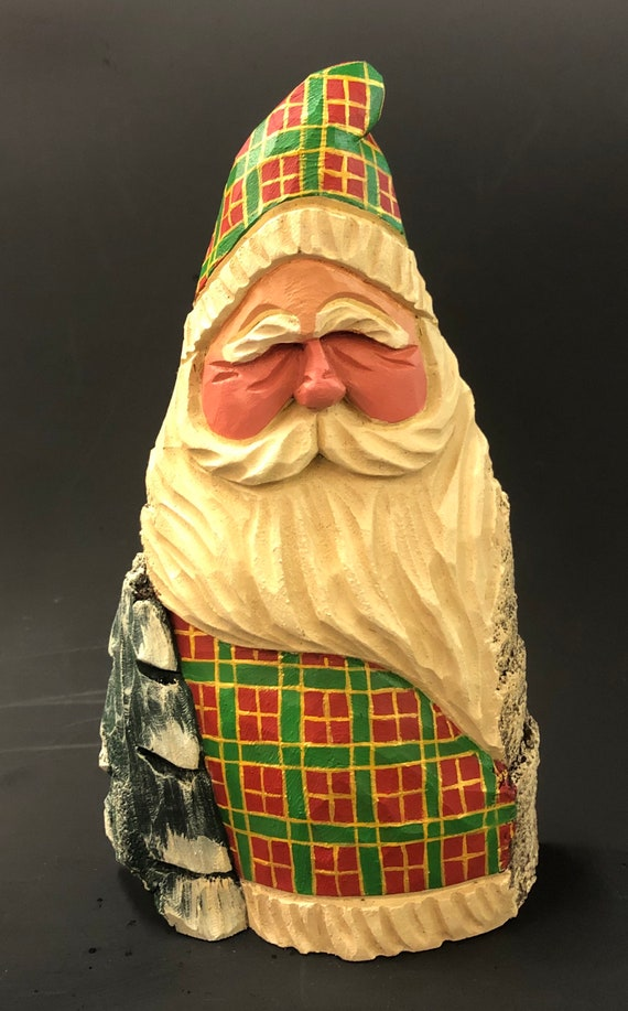 """HAND carved 8.5"""" tall plaid Santa w/ tree from 100 year old Cottonwood Bark."""