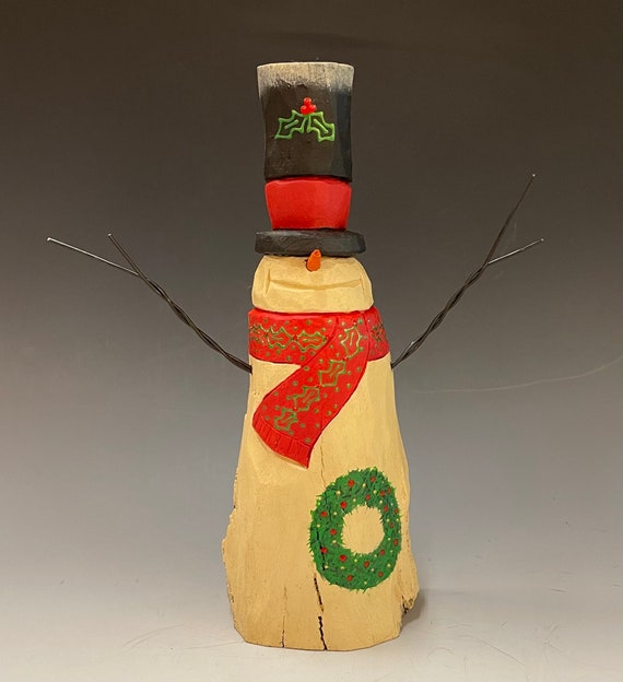 """HAND carved original 9"""" tall Snowman with top hat from 100 year old Cottonwood Bark."""