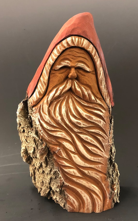 """HAND carved original 9"""" tall Santa bust from 100 year old Cottonwood Bark."""