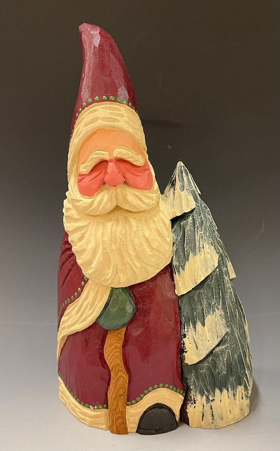 """HAND carved original LARGE 10"""" tall Santa w/ tree & cane from 100 year old Cottonwood Bark."""