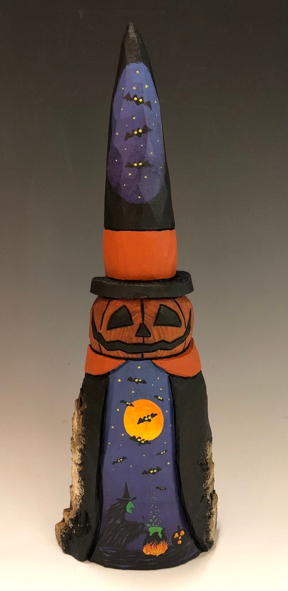 "HAND CARVED original 11.5"" tall Halloween Jack-O-Lantern man in a Witch hat hat from 100 year old Cottonwood Bark"