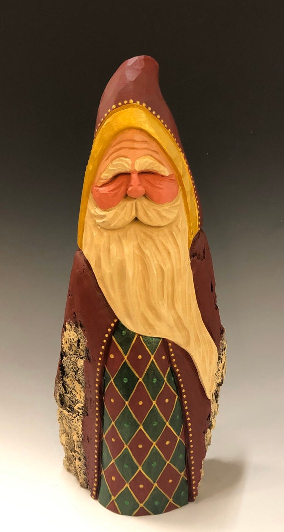 HAND carved original large hooded Santa from 100 year old Cottonwood Bark.