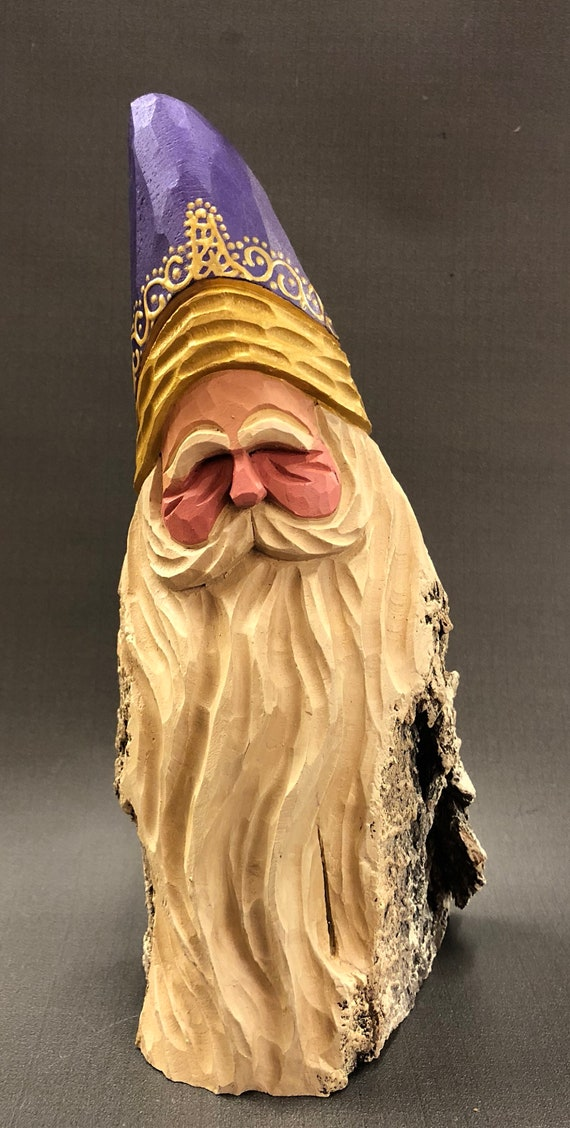 HAND carved original chunky Santa bust from 100 year old Cottonwood Bark.