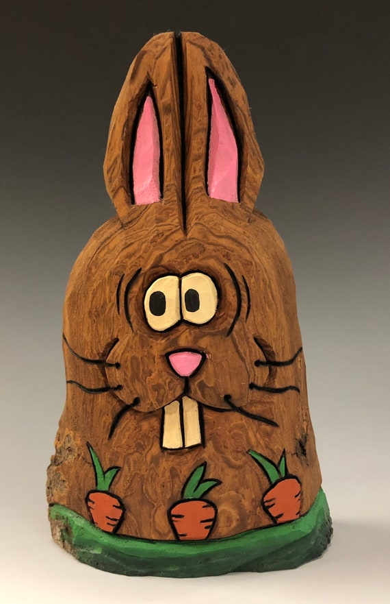 "HAND CARVED original 6.5"" tall Easter Bunny w/ carrots from 100 year old Cottonwood Bark."