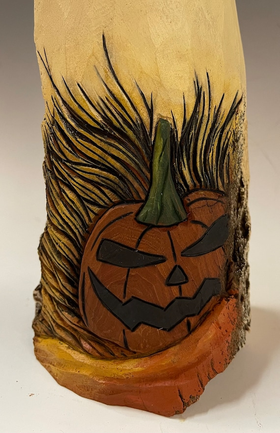 """HAND CARVED original 10.5"""" tall ghost & jack o lantern from 100 year old Cottonwood Bark"""