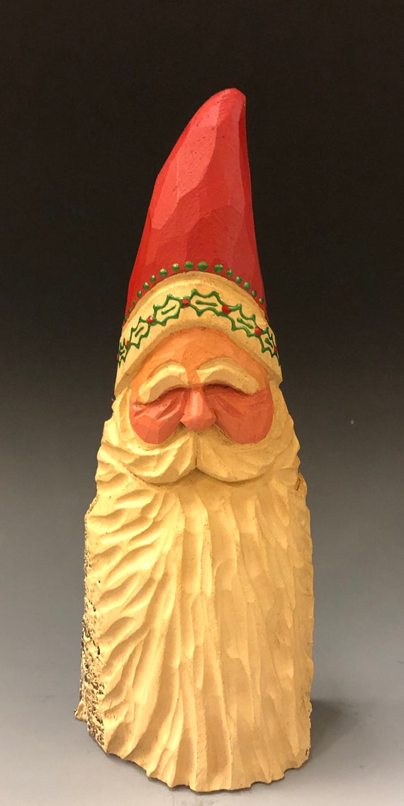HAND carved original 7.5 tall holly Santa bust from 100 year old Cottonwood Bark.