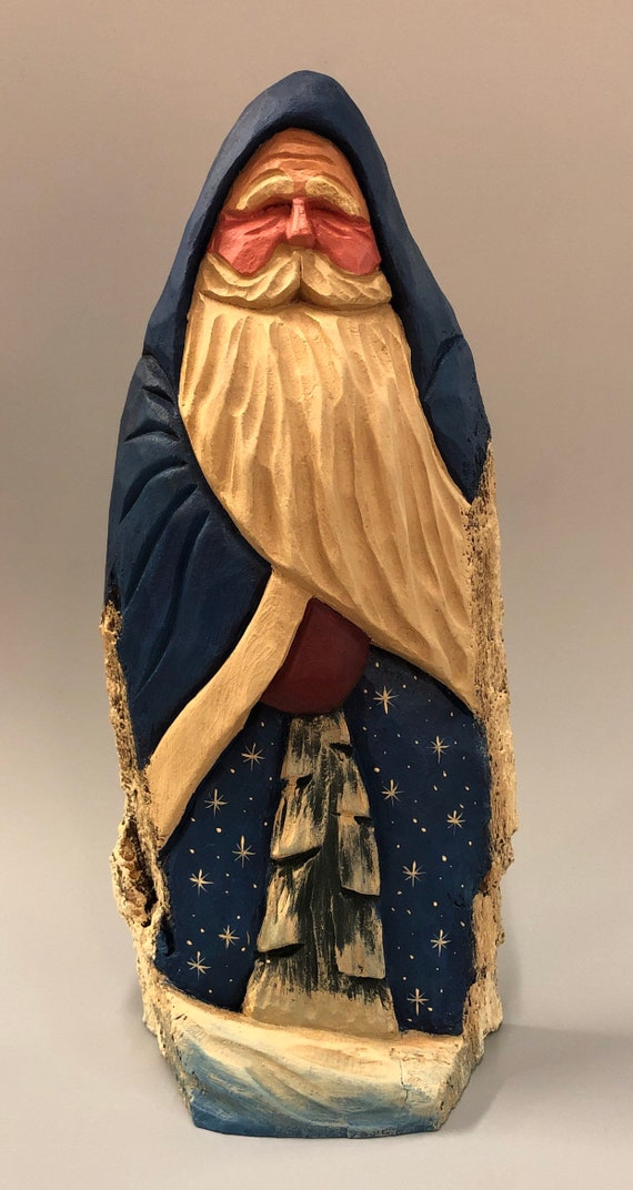 "HAND carved original 10.5"" tall blue Santa with tree from 100 year old Cottonwood Bark."