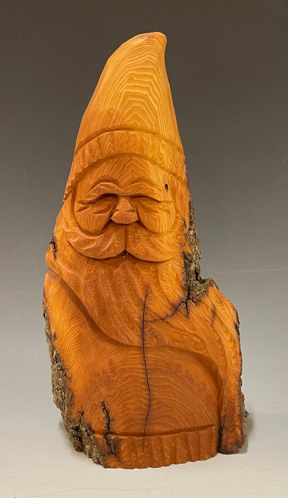 """HAND carved original 8.5"""" tall rustic Santa w/ natural finish from 100 year old Cottonwood Bark."""