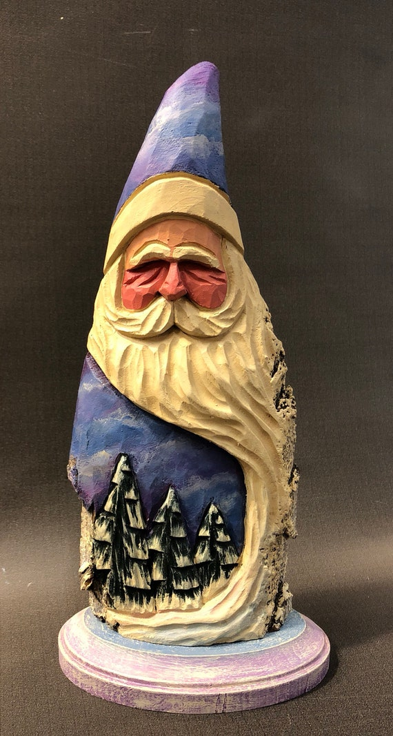 """HAND carved original 11"""" tall Santa with trees from 100 year old Cottonwood Bark."""