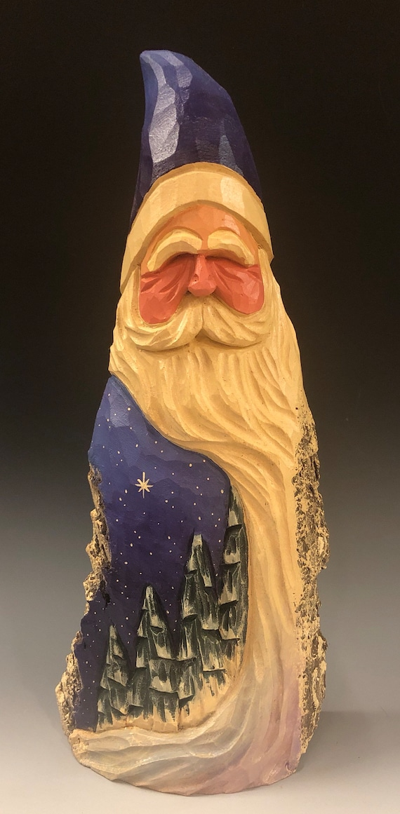 """HAND carved original 12"""" tall Santa w/ trees  from 100 year old Cottonwood Bark."""