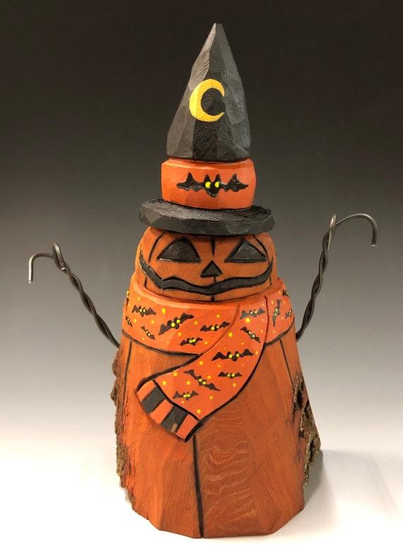 "HAND CARVED original 6.5"" tall Jack-O-Lantern ""snowman"" from 100 year old Cottonwood Bark"